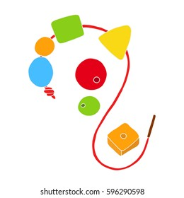 Early childhood development concept. Toy for baby: wooden multi-colored beads of different shapes. Vector illustration isolated on a white
