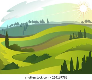 Early countryside morning landscape illustration