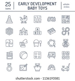 Early development baby toys flat line icons. Play mat, sorting block, busy board, carriage, toy car, kids railroad, maze, clay illustrations. Thin signs for montessori education. Editable Strokes.