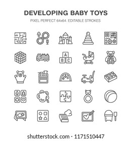 Early development baby toys flat line icons. Play mat, sorting block, busy board, carriage, toy car, kids railroad, maze, clay illustrations. Thin signs pixel perfect 64x64. Editable Strokes.