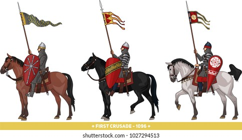 Early Medieval Knights on Horseback in Armour and with Various Weapons, Illustration Isolated on White Background, EPS 10 Vector