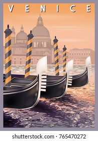 Early morning in Venice, Italy. Handmade drawing vector illustration.