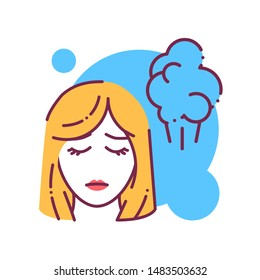 Early pregnancy symptoms fart color line icon. Sickness and illness: bloating and flatulence. Pregnant blond woman concept. Sign for web page, mobile app, banner, social media. Editable stroke.