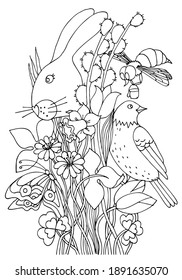 Early spring coloring page. Coloring worksheet with bunny, butterfly, bee, bird, tulips, daffodil, willow branch, anemone hepatica flower. Nature. Easter. Hand drawn vector.