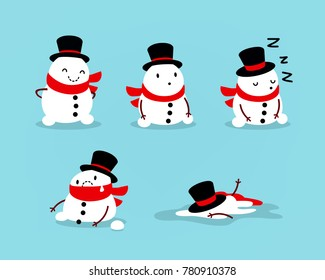 Early Spring, Snowman melts. Set of isolated objects for seasonal design. Vector illustration.