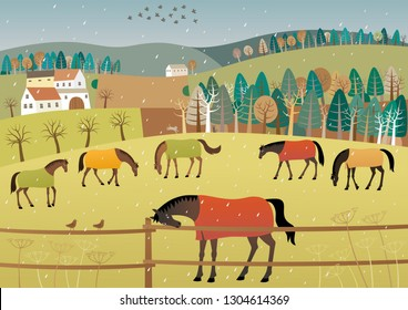 Early spring. Vector illustration of grazing horses in rainy weather.