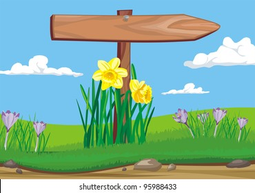 early spring - wooden signpost