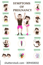 early symptoms of pregnancy Infographic.vector illustration