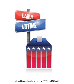 early voting ballot illustration design over a white background