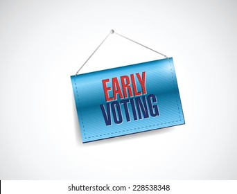 early voting hanging banner illustration design over a white background