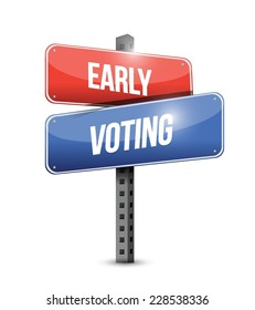 early voting sign illustration design over a white background