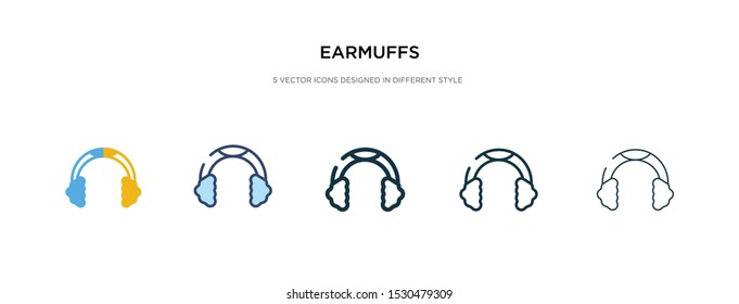 earmuffs icon in different style vector illustration. two colored and black earmuffs vector icons designed in filled, outline, line and stroke style can be used for web, mobile, ui