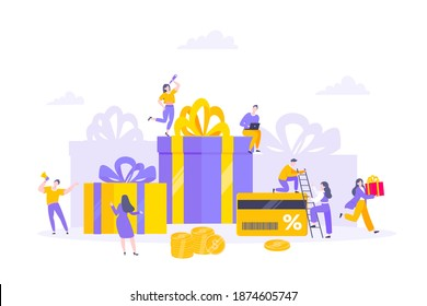 Earn loyalty program points and get online reward and gifts. Get loyalty card and customer service business concept flat design vector illustration. Tiny people with big card and money.