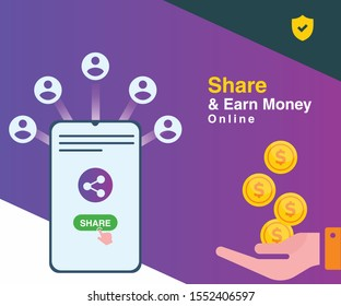 Earn money online by sharing links. Share and earn with social media app. Refer and creating money app