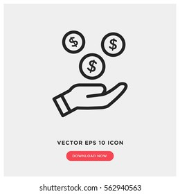 Earn money vector icon, salary symbol. Modern, simple flat vector illustration for web site or mobile app