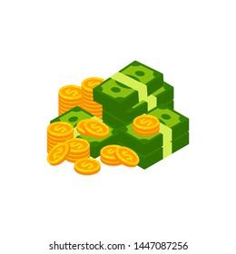 Earn money vector logo icon design. coin and cash money vector symbol design illustration