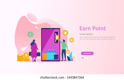 Earn Point concept, Loyalty program and get rewards, Suitable for web landing page, ui, mobile app, banner template. Vector Illustration.