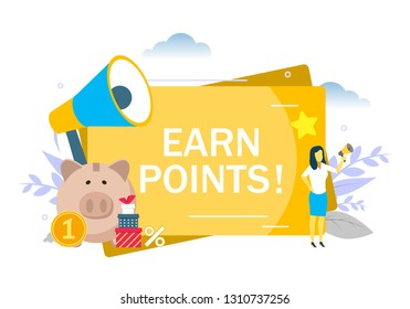 Earn points announcement, woman with megaphone, piggy bank, boxes, vector flat illustration. Customer reward bonus points loyalty program, marketing strategy concept for web banner, website page, etc.