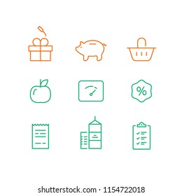 Earn points and get reward, loyalty program, marketing concept, grocery basket, gift box prize, checklist purchase, vector line icon, thin stroke illustration