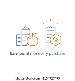 Earn points and get reward, loyalty program, marketing concept, grocery food and shopping basket, vector line icon, thin stroke illustration