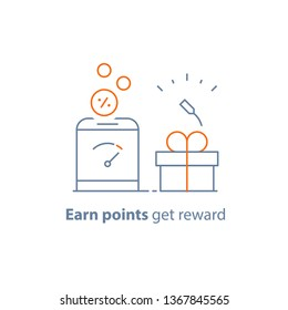 Earn points and get reward, loyalty program, small gift box, vector line icon, thin stroke illustration