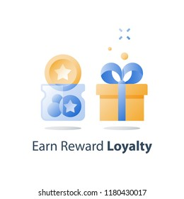 Earn points, loyalty program, collect bonus tokens, reward gift, present box, redeem prize, perks concept, full glass jar, vector icon, flat illustration