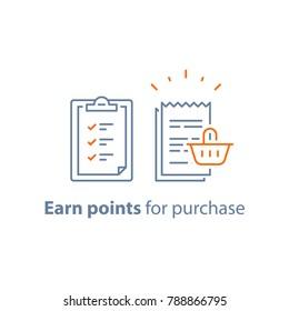 Earn points, loyalty program, marketing concept, till slip with shopping basket, vector line icon, thin stroke illustration