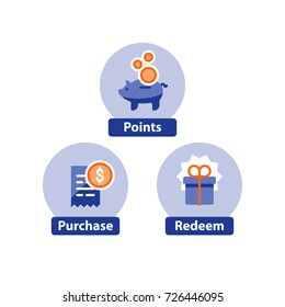 Earn points for purchase concept, loyalty program, cash back, marketing and promotion, reward gift, collect bonus, vector flat icons