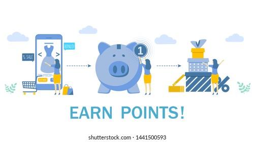 Earn points, vector flat illustration. Woman buying dress via smartphone, piggy bank, gift boxes. Customer reward loyalty program, earn bonuses concept for web banner, website page, etc.
