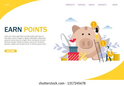 Earn points vector website template, web page and landing page design for website and mobile site development. Customer reward loyalty program concept.