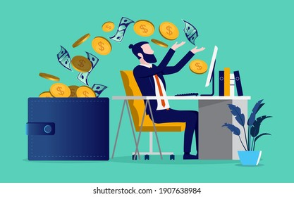 Earning money online - Bearded man working on desk with computer and money flowing from screen to wallet. Vector illustration.