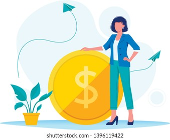 Earning, saving and investing money. Businesswoman is standing near a big dollar coin. Flat vector concept illustration for website, banner, flyer. Isolated on white