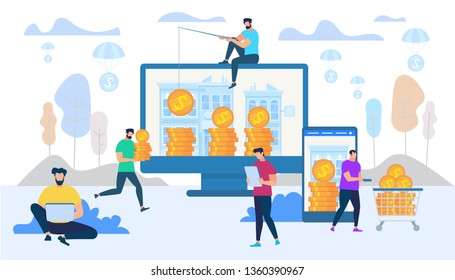 Earning and Spending Money in Internet Using Digital Technologies. Man Work on Laptop, Guy Push Trolley with Money, Male Person Catch Golden Coins from PC Monitor. Cartoon Flat Vector Illustration.