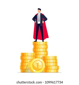 Earnings. Businessman stands on a pile of coins. Wealth concept in a flat style. Vector illustration.