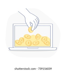 Earnings on the Internet, E-commerce, Wealth, Internet Marketing, Online Savings concept. The hand takes money from the laptop. Flat outline icon on white background.