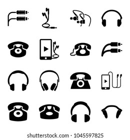 Earphone icons. set of 16 editable filled earphone icons such as desk phone, headphones, phone and earphones, earphones