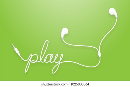 Earphones, Earbud type white color and play text made from cable isolated on green gradient background, with copy space
