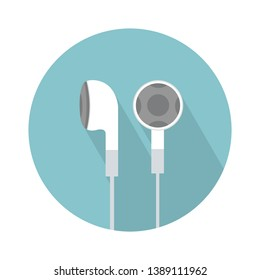 Earphones, Earbud type white color symbol with cable isolated