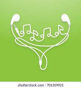 Earphones, Earbud type white color and music note symbol made from cable isolated on green gradient background, with copy space