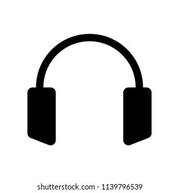 Earphones illustration. Flat, black image.