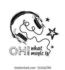 Earphones monochrome illustration isolated on white background