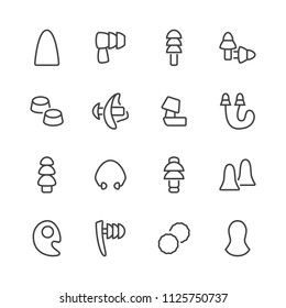 Earplugs flat line icons. Healthy sleep without snore, ear safety illustrations. Thin signs for medical store. Pixel perfect 48x48. Editable Strokes.