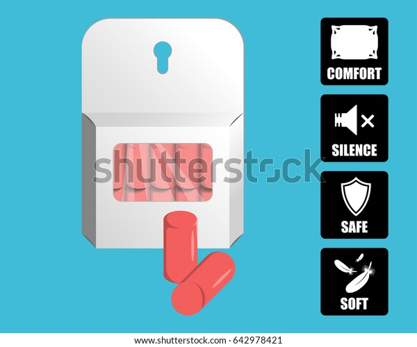 Earplugs vector illustration. Package of foam ear plugs with usage icons set. Isolated foam earplugs. 3D like simple style template elements for advertisement, safety posters, package design.