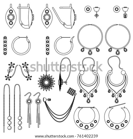 Earring Clasps Types Outline Stock Vector Royalty Free 761402239
