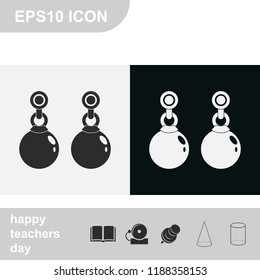 Earrings flat black and white vector icon.