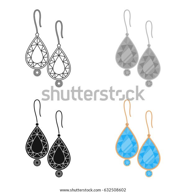 Earrings with gems icon in cartoon style isolated on white background. Jewelry and accessories symbol stock vector illustration.