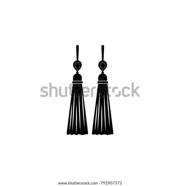 Earrings Tassels Icon Jewelry Icon Premium Stock Vector