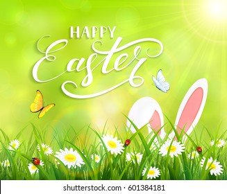 Ears of an Easter bunny and butterflies flying above the grass and flowers, green nature background with sun beams and lettering Happy Easter, illustration.