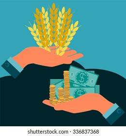 Ears of wheat and dollar bills with coins in hand. Investments in agriculture. Payment of bread. Money in food trade, agribusiness, agrobusiness.