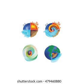 Earth 4 elements vector illustration. Earth four elements water, fire, air, gravel